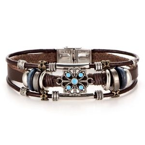 Jewelry - Silver Tone Embellished Leather Cuff Bracelet
